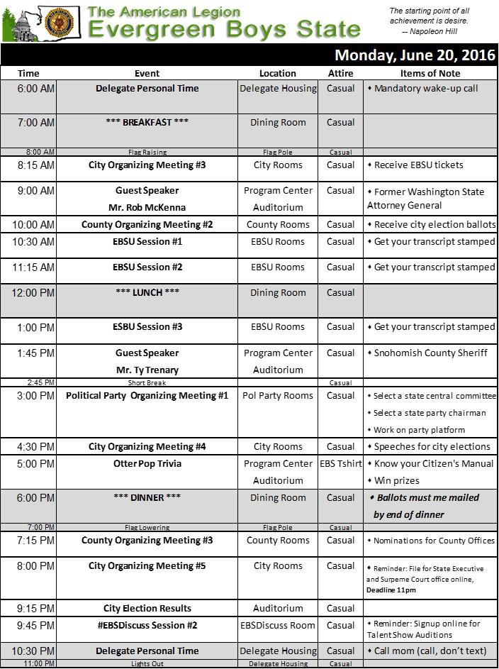 2016 Schedule Mon
