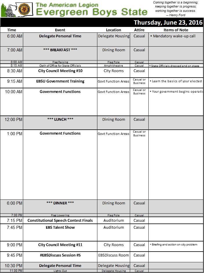 2016 Schedule Thu