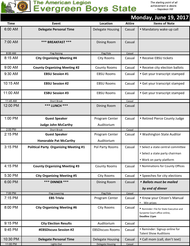2017 Schedule Mon