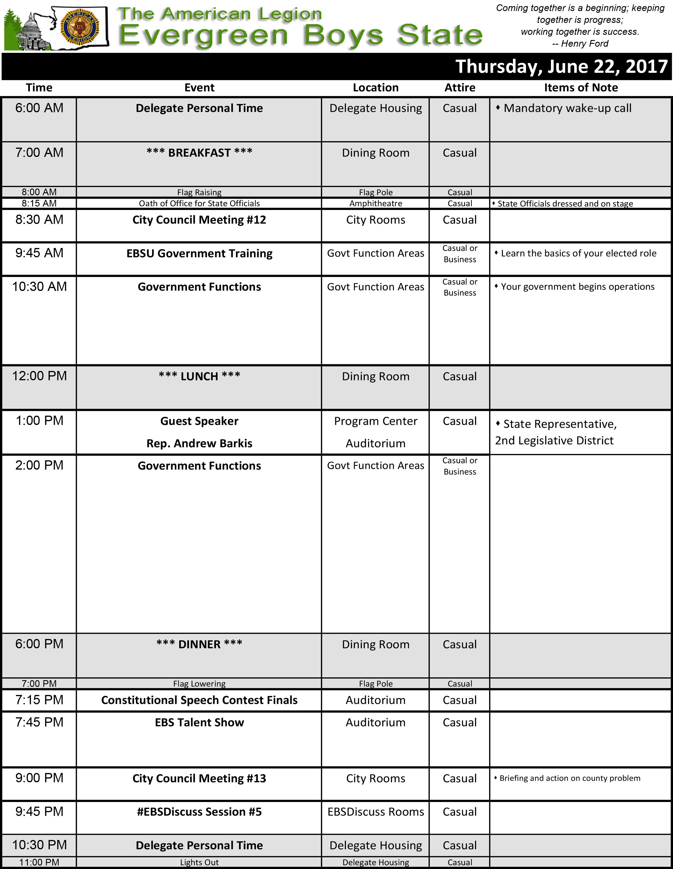 2017 Schedule Thu