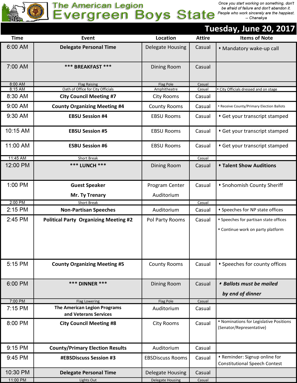 2017 Schedule Tue