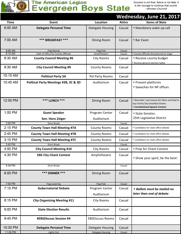 2017 Schedule Wed