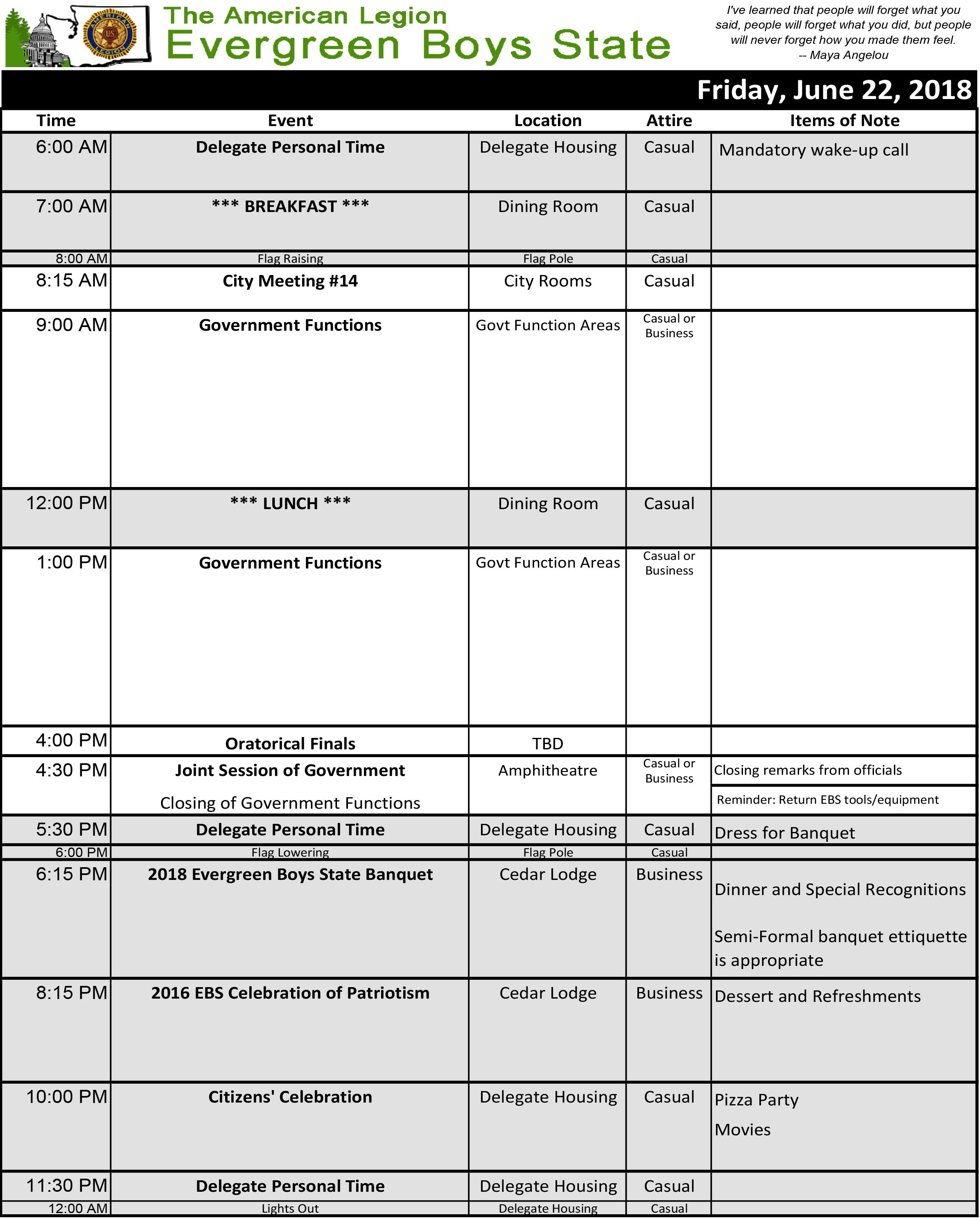 2018 Schedule Fri