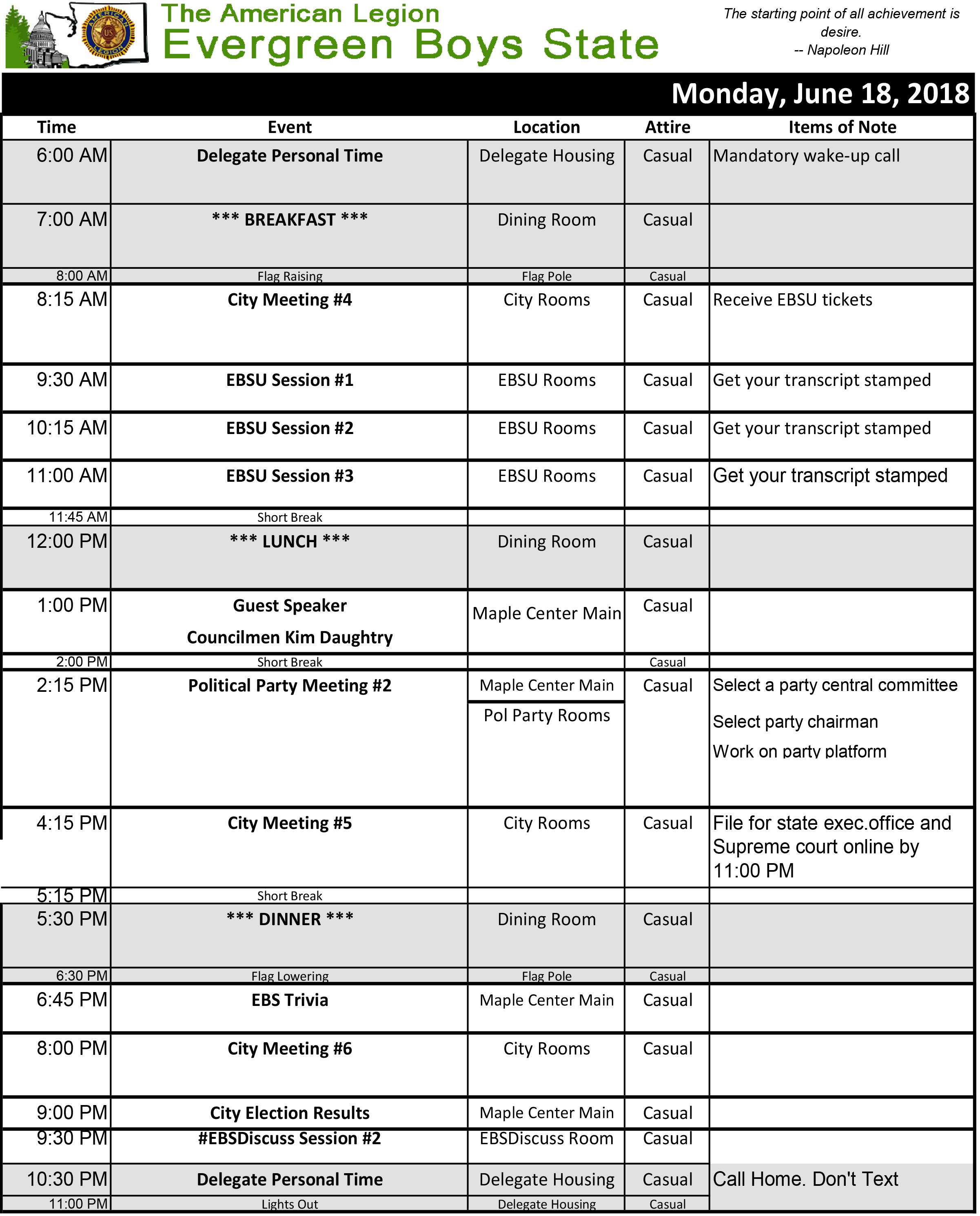 2018 Schedule Mon